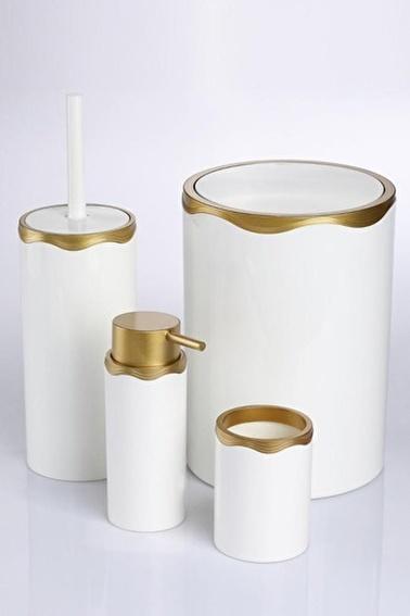 Azra 4 Parça Akrilik Beyaz Mat Altın Banyo Seti Altın